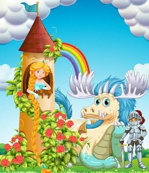 Prinses in toren met ridder en draak