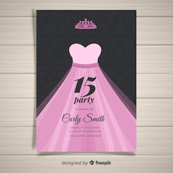 Prinses jurk quinceanera kaartsjabloon