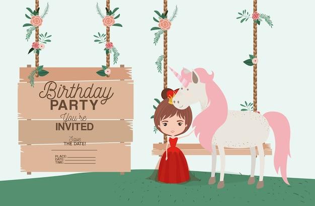 Prinses met eenhoorn en label houten uitnodigingskaart Premium Vector