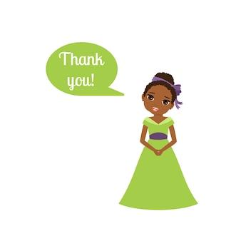 Prinses met tekstballon bedankt