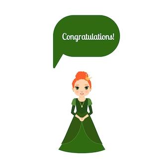 Prinses met tekstballon gefeliciteerd