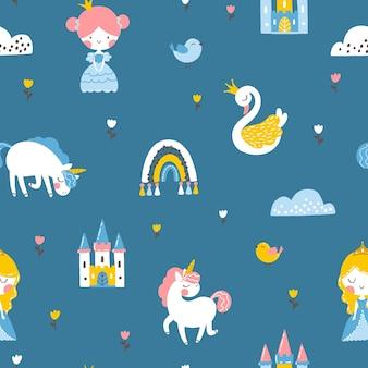 Prinses naadloos patroon met het kasteel van de eenhoornzwaan en regenboog