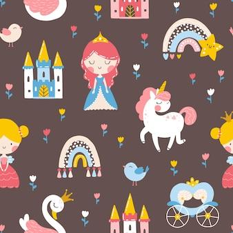 Prinses naadloos patroon met prins eenhoorn zwanenkasteel en regenboog