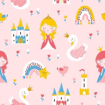 Prinses naadloos patroon met regenboog van het zwanenkasteel en bloemen