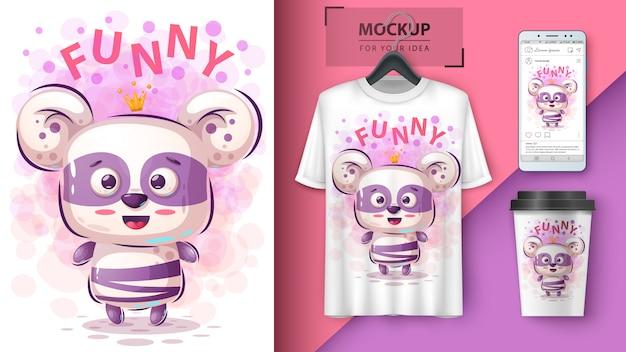 Prinses panda illustratie en merchandising