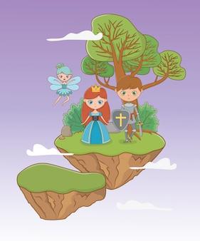 Prinses ridder en feeën sprookjesachtige ontwerp