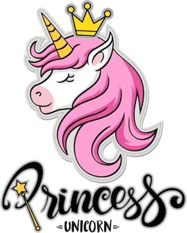 Prinses, schattige eenhoorn met kroon
