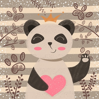 Prinses schattige panda - stripfiguren