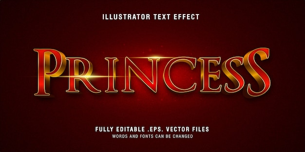 Prinses tekststijleffect volledig bewerkbaar