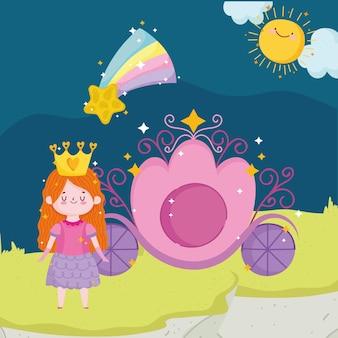 Prinses verhaal cartoon meisje met kroon vervoer vallende ster hemel vectorillustratie