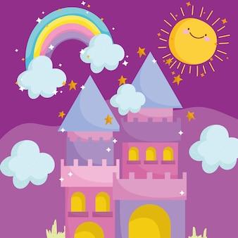 Prinses verhaal cartoon schattig kasteel regenboog zon hemel vectorillustratie