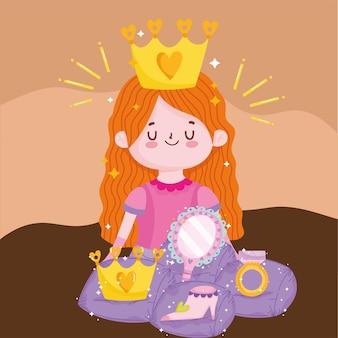 Prinses verhaal cartoon schattig meisje met kroon spiegel schoen en ring fantasie vectorillustratie