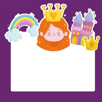 Prinses verhaal kasteel regenboog kroon cartoon kaart vectorillustratie