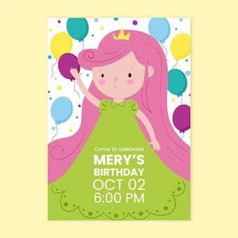 Prinses verjaardag uitnodiging sjabloon