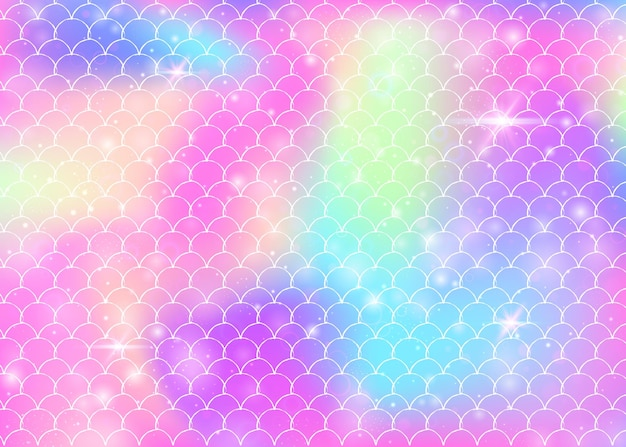 Prinses zeemeermin achtergrond met kawaii regenboog schalen patroon. vissenstaartbanner met magische glitters en sterren. zee fantasie uitnodiging voor girlie party. neon prinses zeemeermin achtergrond.