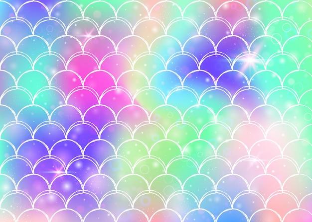 Prinses zeemeermin achtergrond met kawaii regenboog schalen patroon. vissenstaartbanner met magische glitters en sterren. zee fantasie uitnodiging voor girlie party. neon prinses zeemeermin achtergrond. Premium Vector