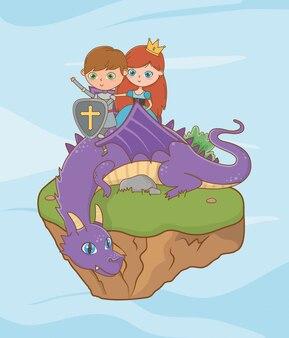Prinsesridder en draak van sprookjesachtig ontwerp