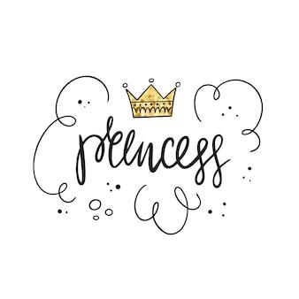 Prinsessenfeest. belettering, kroon en gouden textuur. vector illustratie
