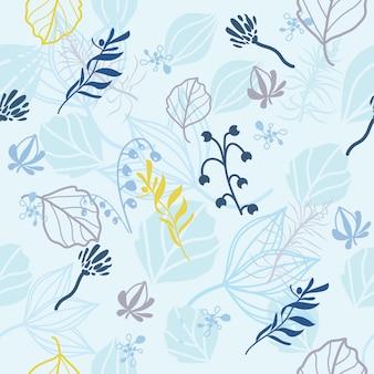 Print blauw patroon met bladeren en bloemen