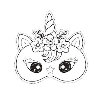 Print en kleur unicorn gezichtsmasker voor ambachtelijk en doe-het-zelf verjaardagsfeestje