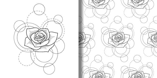 Print en naadloos patroon met roos en cirkels