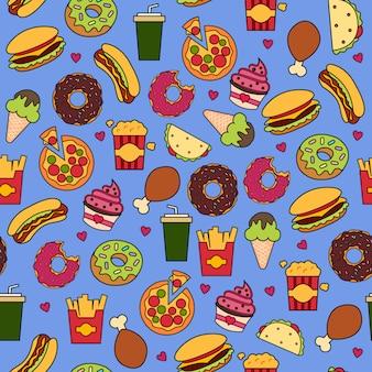 Print fastfood blauw
