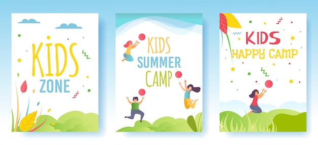 Print flyer, mediakaarten of sociale verhalen set advertising kids camp