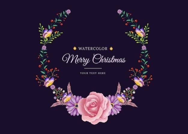 Print merry christmas aquarel bloemenframe met minimalistische stijl