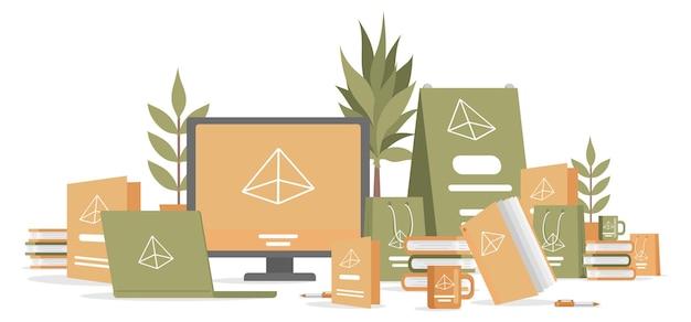 Print reclamemateriaal vector vlakke afbeelding promotie bedrijf marketingcampagne