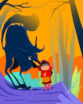 Print roodkapje en de wolf in het bos. kinderboeken, tijdschriften, webpagina's, apps