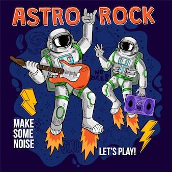 Print twee coole astronauten, ruimtevaarder die astro rock spelen op elektrische gitaar tussen sterren planeten sterrenstelsels. cartoon hand getekende illustratie.