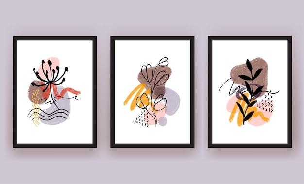 Printabstracte vorm en blad boho moderne minimalistische clipart