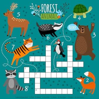 Printbaar dierkruiswoordraadsel. voorschoolse puzzel quiz spel, het leren van engelse kinderen hersenkraker met bosdieren, vectorillustratie
