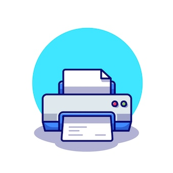Printer met papieren illustratie