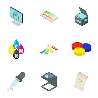 Printer set, cartoon stijl
