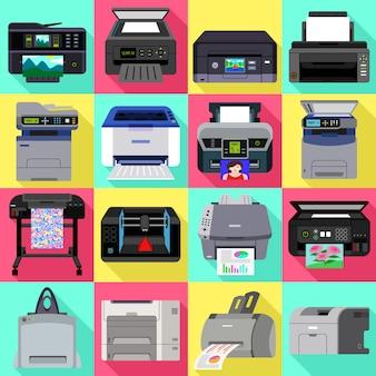 Printerpictogrammen instellen. platte set van printer vector