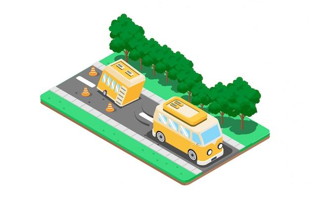 Printisometrische vectorpictogrammen stellen verplaatsingen van campingbusjes op de weg voor