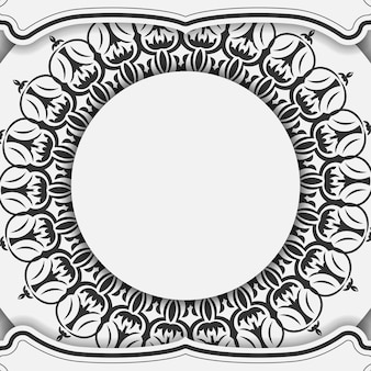 Printklare ansichtkaartontwerp witte kleuren met mandala's. uitnodigingskaartsjabloon met plaats voor uw tekst en vintage ornamenten.