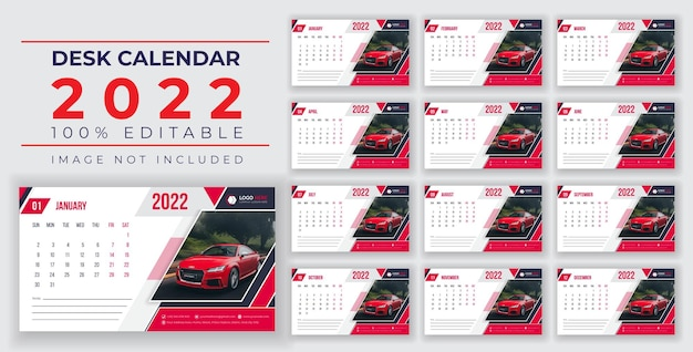 Printready bureaukalender ontwerp 2022 victor sjabloon victor banner eps of social media design