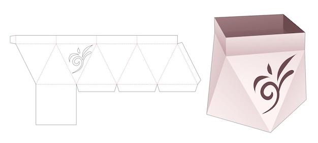 Prisma doos met gestencilde bloemenlijn gestanst sjabloon