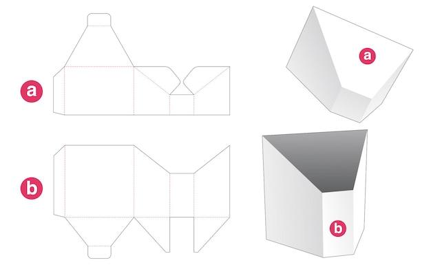 Prismavormige doos met deksel gestanst sjabloon