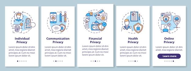Privacytypes onboarding mobiele app-paginascherm met concepten. communicatie en gezondheidsprivacy. doorloopstappen grafische instructies. ui-sjabloon met rgb-kleurenillustratie