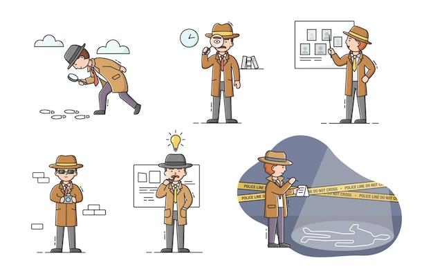 Prive-detective concept. set jonge cartoon detectives met gereedschap in verschillende situaties. personages doen hun werk. proces om bewijzen te zoeken.