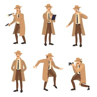 Prive-detective met snor illustraties set