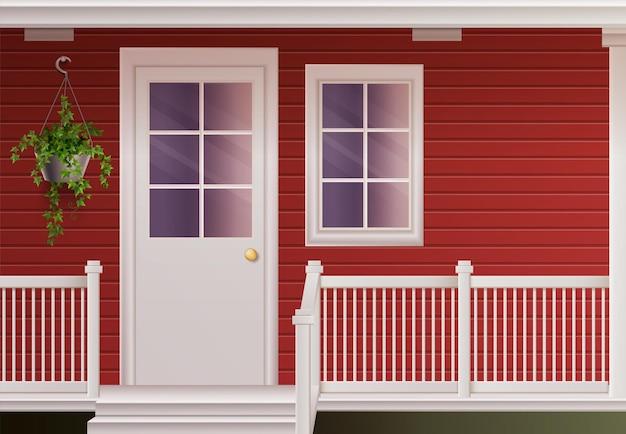 Prive-gevel van het landhuishuis met toegangsdeur en omheinde veranda realistische illustratie