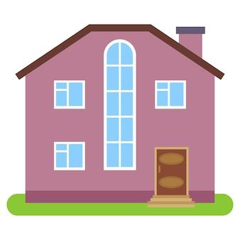 Privé huis met een bruin dak en roze muren op een witte achtergrond. vector illustratie.