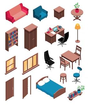 Privé-interieur items isometrische pictogrammen instellen met sofa tafel dressoir stoel bureau vloerlamp