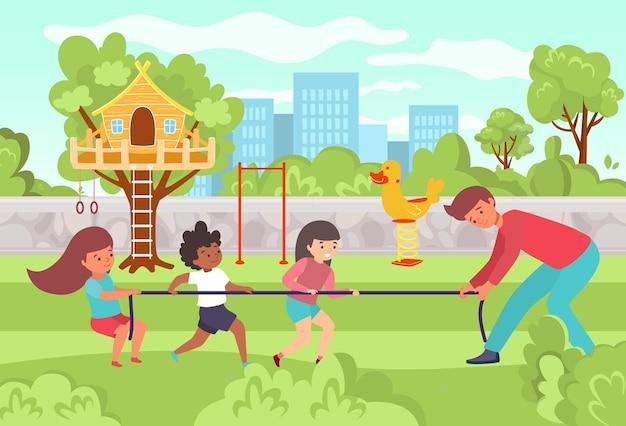 Prive-kleuterschool mannelijke karakter leraar spelen met gelukkige kinderen