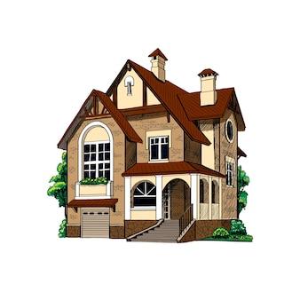 Privé landhuisplattelandshuisje op witte illustratie als achtergrond