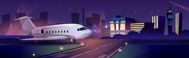 Privé passagiersvliegtuig of persoonlijk zakenjet op baan bij nacht, de bouw van de luchthaventerminal